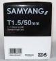 Объектив Samyang Canon MF 50mm T1.5 AS UMC б/у